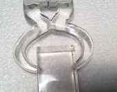 Carved Lucite Movable Brooch Figural Ice Tongs in Block of Ice