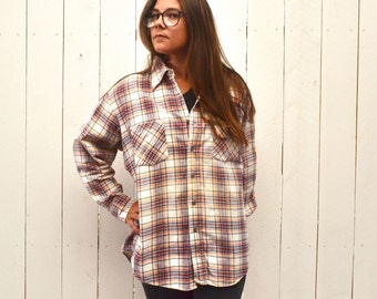 Plaid Cotton Flannel - Early 90s Button Up Shirt - Vintage Red White Blue Plaid Shirt - Large L / Extra Large XL