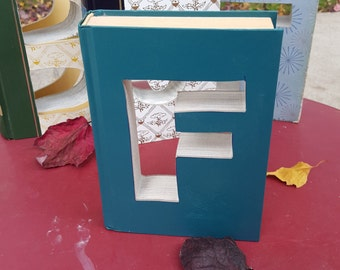 Upcycled Book Letter Decor - Teal F