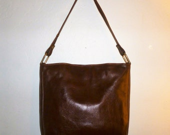 Vintage 70's - Huge - Espresso Brown - Leather - Shoulder Bag - Made in Italy for Bullock's - 12 x 12 x 2.5