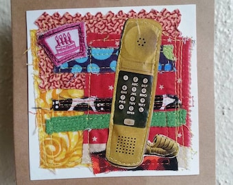 I Just Called To Say.... fabric collage wall hanging fiber art mixed media telephone birthday cake