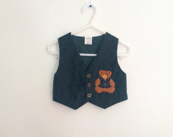 1980s Baby Boys hunter green vest with embroidered teddy bear / photo prop