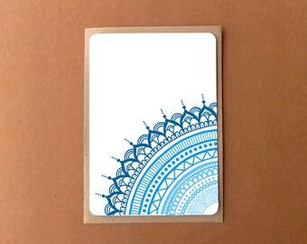 Beautiful mandala card, QUARTER BLUE, zentangle card, general note card