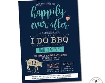 I Do BBQ Wedding Invitations, Casual Wedding Invitation, Elopement Reception Invitation, We Eloped