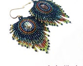 Peacock's feather bead embroidery earrings, bead embroidered fringe earrings with paua abalone shell cabochons in navy blue green and copper