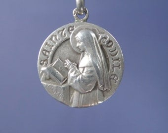 """Saint ODILE Vintage French Silver Religious Medal Pendant by C CHARL on 18"""" sterling silver rolo chain"""