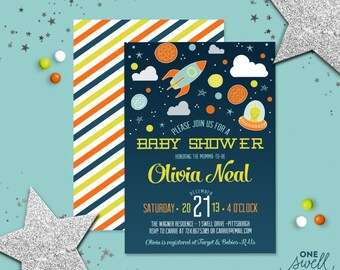 Outer Space Baby Shower Invitation | Space Baby Shower Invitation, Boy Baby Shower, Planet Moon Rocket Invitation, Printable Invitation