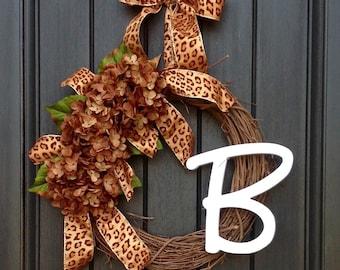 READY TO SHIP Fall Wreath-Autumn Wreath-Twig-Holiday Wreath- Grapevine Door Decor-Fall Decor Brown Hydrangea-Floral Decoration Monogram