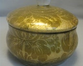 Candy Trinket Keepsake Box  Sealed Lacquer Gold Material Leaves Flowers Design