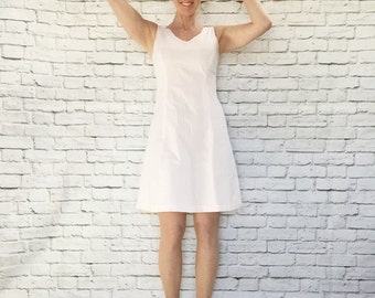 Vintage 60s Pale Pink Plaid Sun Dress S Rosette Trim A-Line Tennis
