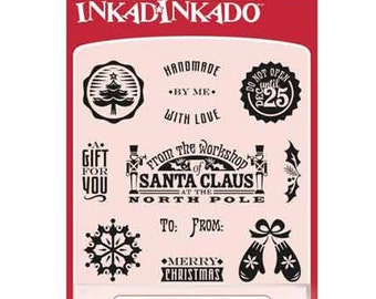 Inkadinkado Clear Stamp Set with Stamping Block - Inchies - Holiday Tags