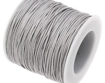 Waxed Cord : 10 yards (30 feet) Light Grey 1mm Waxed Cord String | Bracelet Cord | Macrame Cord | Chinese Knotting Shamballa 329-30