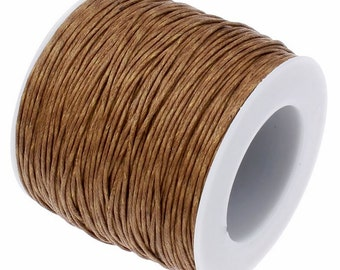 Waxed Cord : Saddle Brown 1mm Waxed Cord String / Bracelet Cord / Macrame Cord / Chinese Knotting Cord  [Choose 10 feet or 30 feet] 123