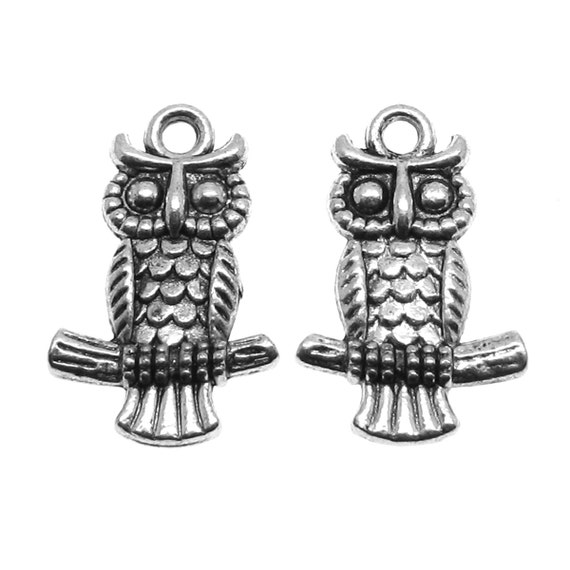 Silver Charms: 10 Antique Silver Owl Double-Sided Charms | Silver Ox Owl Pendants -- Lead, Nickel & Cadmium Free Jewelry Findings 55150.J1H