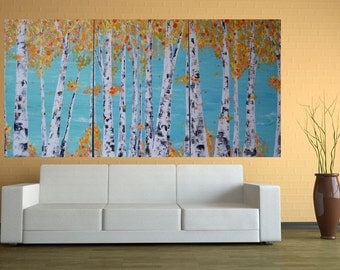 Made to Order-Choose Size-36x72 (3ftx6ft pictured) Colorful Aspen/Birch Tree Autumn Original Custom Art