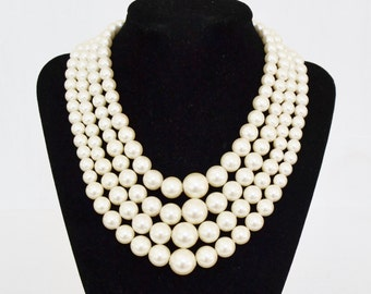 Vintage Multi-Stranded Necklace with Cream Faux Pearls Made in Hong Kong