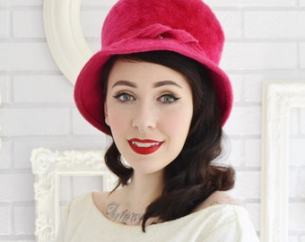 Vintage 1960s Deep Pink Fuzzy Wool Hat with Rhinestone Accent by Toby of London