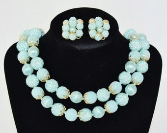 Vintage Necklace and Earring Set in Light Blue with Sugar Beads
