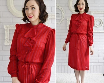 Vintage Red Sheer Dress with Ruffles and Blue Stripes by Doo-Dads Size Extra Small or Small