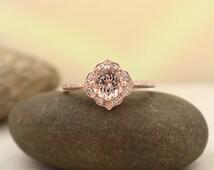AAA Morganite Engagement Ring Diamond Wedding Ring Vintage Floral Ring In 14k Rose Gold Gem1224  ***ON Promotion***