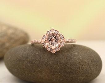 aaa morganite engagement ring diamond wedding ring vintage floral ring in 14k rose gold gem1224 - Morganite Wedding Ring Set