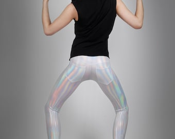 Men's Jeans Back Hologram Leggings, Meggings, Holographic Metallic Rainbow Pants, Stage Clothing, Club Wear, by LENA QUIST