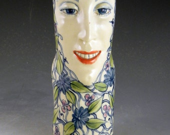 Porcelain face vase OOAK fun with teeth and flowers