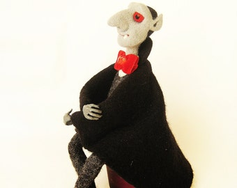 Vampire sculpture Halloween accessory Needle felt Collectible art doll Dracula Horror doll Darkness creature