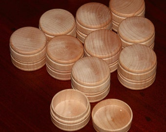 """10 Round SMALL Wooden Box/Lids UNFINISHED 1"""" x 1-9/16"""" Pill Gifts Rings Jewelry Trinkets Tooth Fairy Tole Painting (MT1)"""