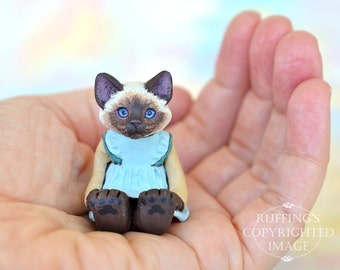 Cat Art Doll, OOAK Original Ragdoll Kitten, Miniature Hand Painted Folk Art Figurine Sculpture, Claudette by Max Bailey