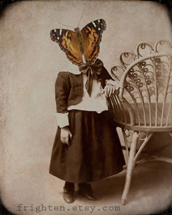 Butterfly Art, Collage Print, Anthropomorphic, Victorian Girl, Mixed Media Collage, Collage Art, Monarch Butterfly, Nursery Art