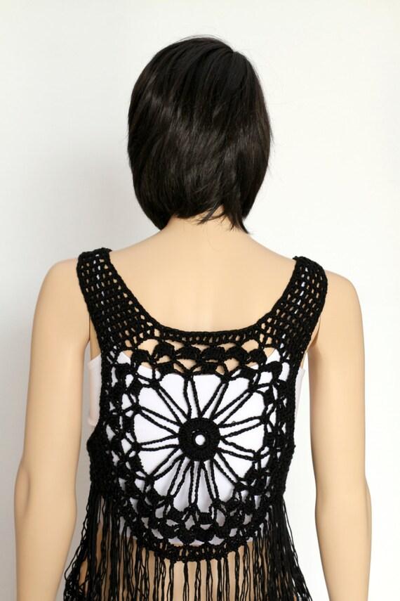 Black vest Boho hippy vest, Crochet vest Summer festival