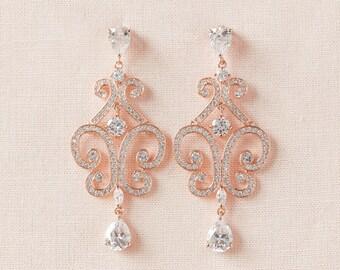 Rose Gold Wedding Earrings, Chandelier Bridal Earrings, Bridal Jewelry, Wedding Jewellery, Swarovski, Bridesmaids, Michelle Bridal Earrings