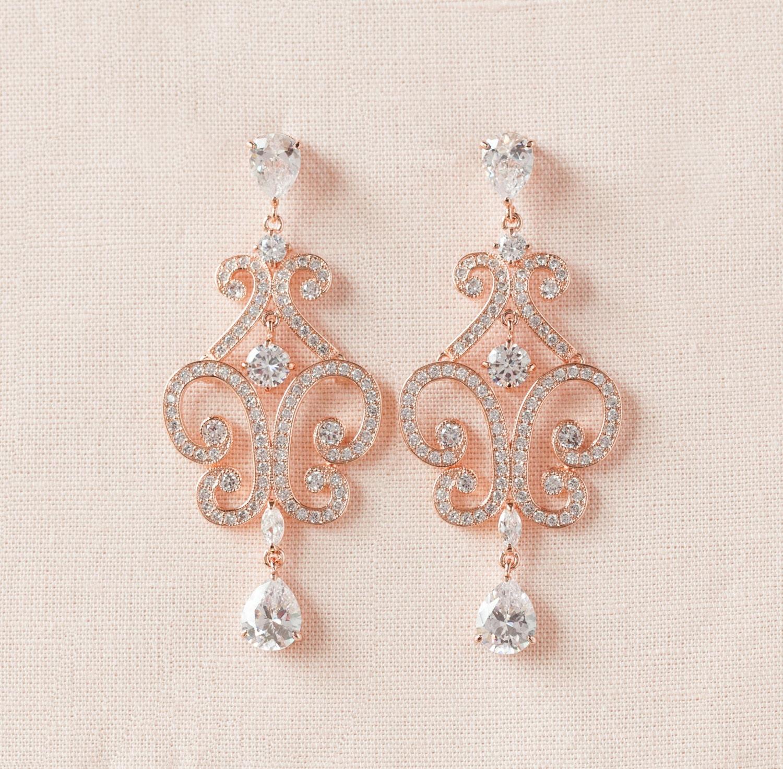 Rose Gold Wedding Earrings Chandelier Bridal Earrings Bridal
