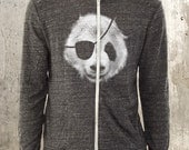 Panda Bear Pirate Eco-Jersey Hoodie - Men's/Unisex Space Dyed Hoodie - Men's Small Through 2XL Available