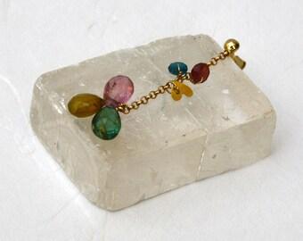 14k Solid Gold earrings, Dangle earrings Gold, Tourmaline earrings, 14k Yellow Gold earrings