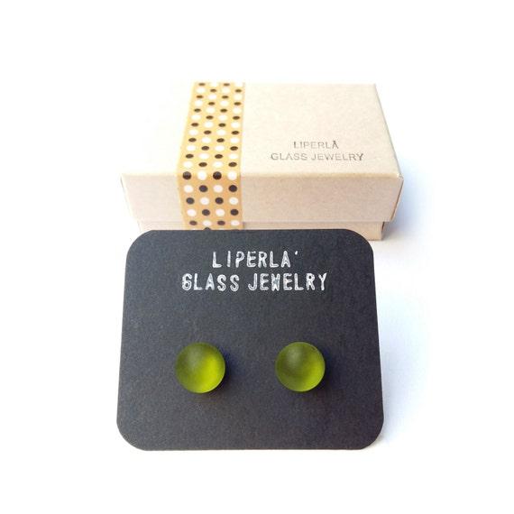 Green Post earrings, Olive green post earrings, Glass Post Earrings, Matte Fusedglass studs