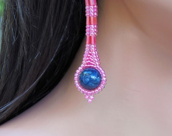Light Red & Blue Lapis Earrings - Beaded Long Stone - Statement Earring - BOHO Style - Everyday Wear - Long Dangling - Woven Seed Bead