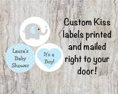 "PRINTED 108 Baby Shower Blue & Grey (Gray) Elephant 3/4"" Candy Kiss Stickers Blue Polka Dots Ears labels Party Favors ***DISCOUNTS BELOW***"