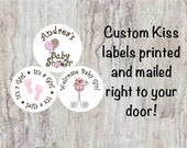 "PRINTED 108 Baby Shower Stickers - Personalized Pink Baby Carriage and Baby Feet 3/4"" Small Kiss Candy kiss labels for Party Favors"