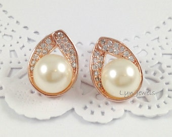 Rose Gold Pearl Earrings - Cubic Zirconia Swarovski Pearl Stud Earrings - Wedding Jewelry Choice of Pearl Colors Cream, White, Rosaline