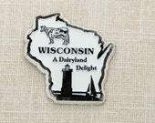 Wisconsin Silhouette Vintage State Magnet | Cow Lighthouse Sailboat Badgers Tourism Summer Vacation Memento | USA America Dairyland Delight