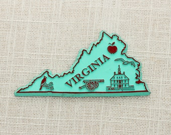 Vintage Virginia State Green Magnet Silhouette | Colonial Williamsburg Travel Tourism Summer Vacation Memento USA America Refrigerator