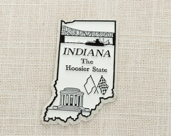 Indiana Vintage Silhouette Magnet | The Hoosier State Travel Tourism Summer Vacation Memento Indianapolis | Indy USA America Refrigerator