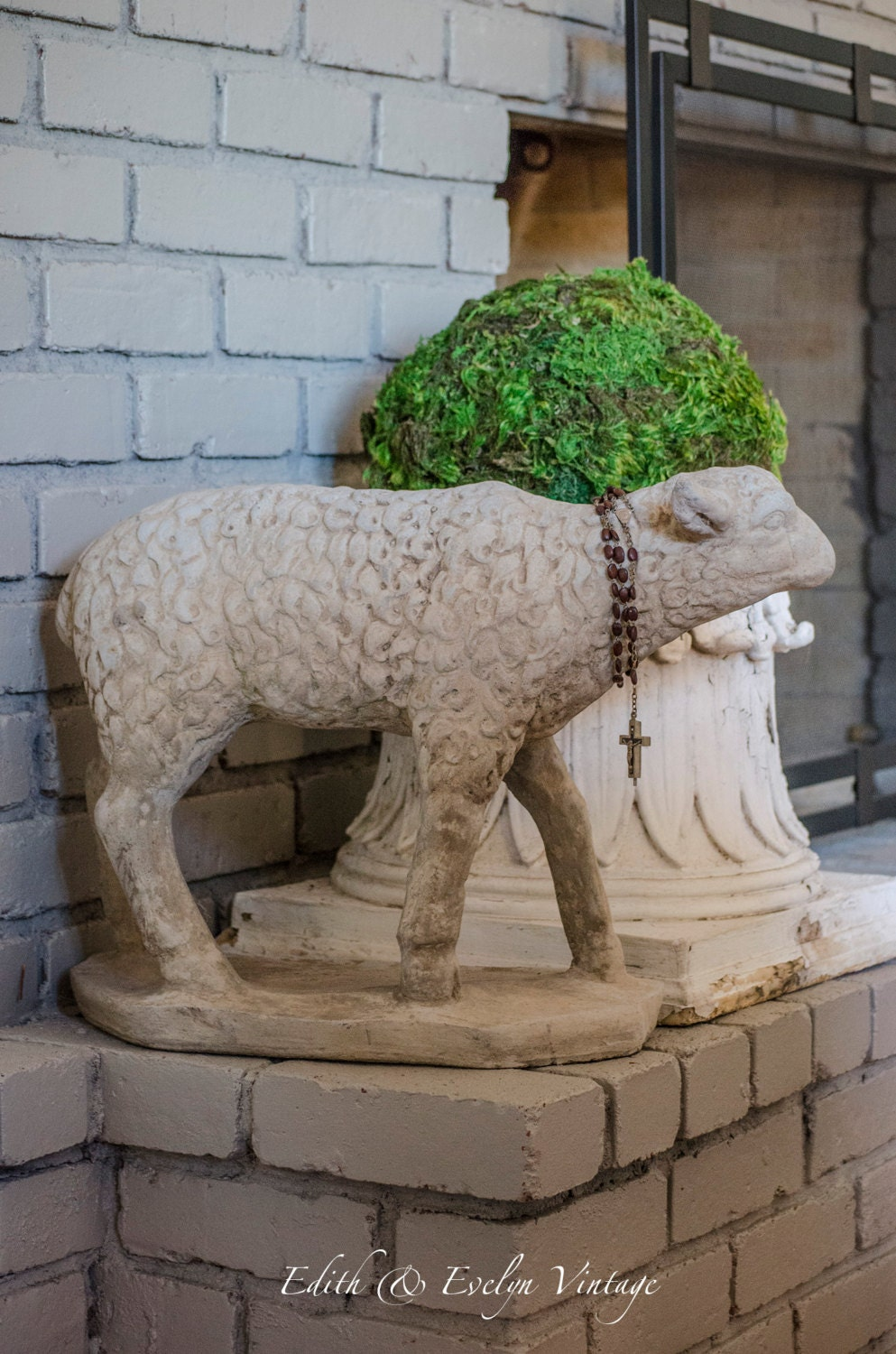 Huge Sheep Statue Concrete Standing Lamb