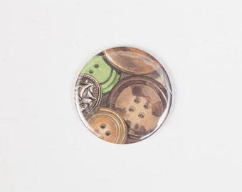 Vintage Buttons - A Pocket Mirror made from a Vintage Ladybird Book, 58mm 2.3 Inches