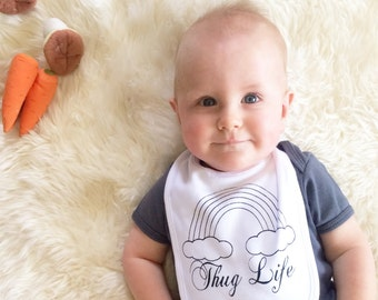 Thug Life Cotton Baby Bib - Hand Screen Printed