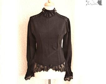 Top black, Victorian, Steampunk, romantic goth, Devota, Somnia Romantica,  size medium - large see item details for measurements