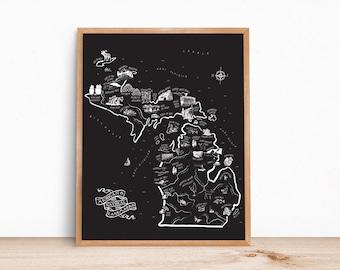 Black Michigan Landmarks Map 16x20