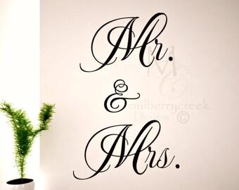 Vinyl Decal Mr. and Mrs/Wedding Decals/Master Bedroom Decals/Vertical Mr and Mrs Vinyl